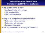 carbon nanotube field effect transistors cntfets evolution5