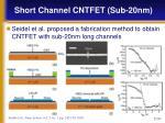 short channel cntfet sub 20nm