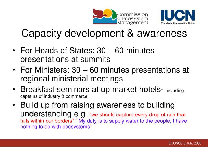 Capacity development & awareness