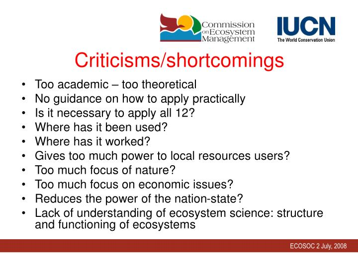 Criticisms/shortcomings