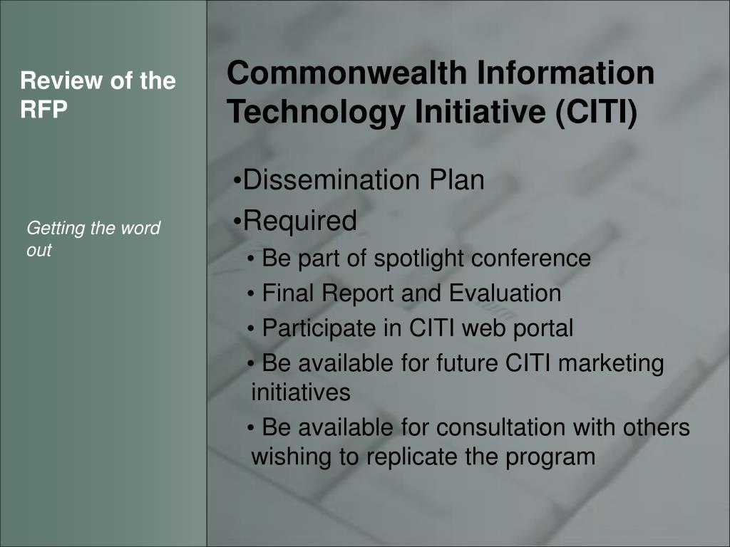 PPT - CITI RFP PowerPoint Presentation - ID:3891381