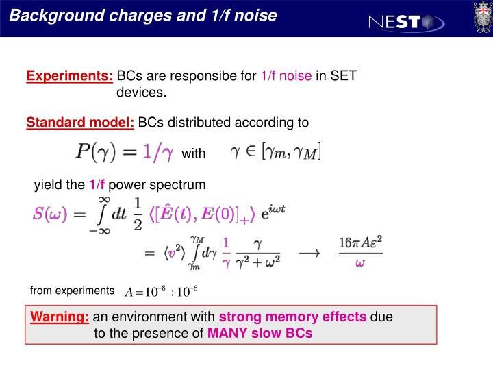 Background charges and 1/f noise