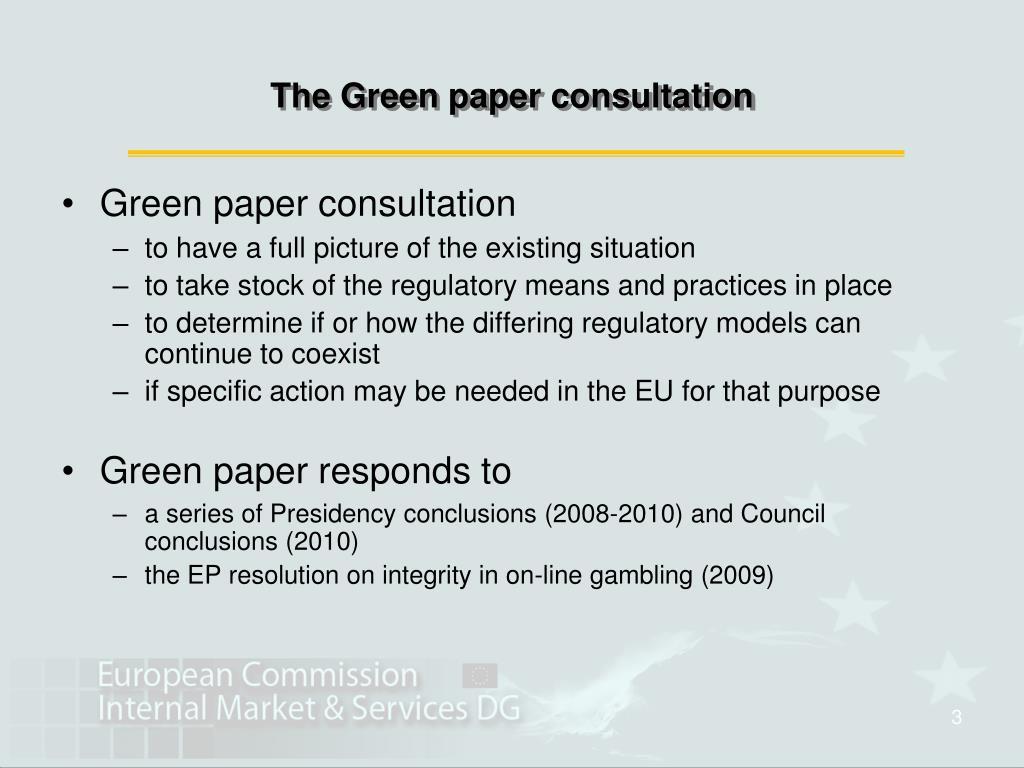 Eu gambling green paper no deposit usa