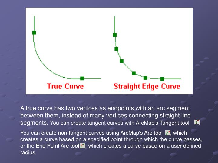 A true curve has two vertices as endpoints with an arc segment between them, instead of many vertices connecting straight line segments.