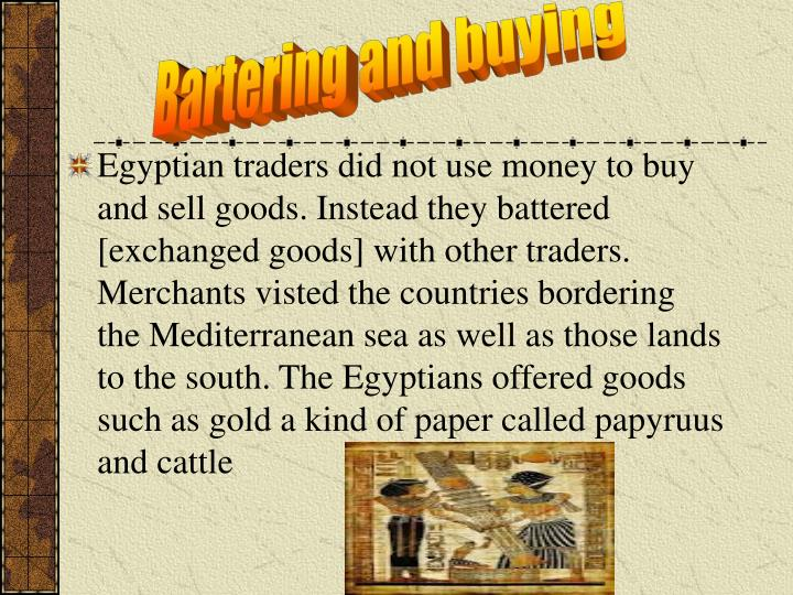 Bartering and buying