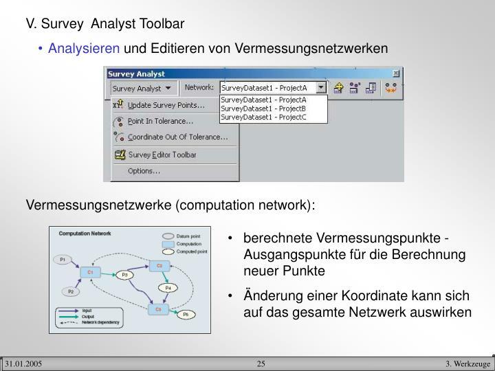 V. Survey  Analyst Toolbar
