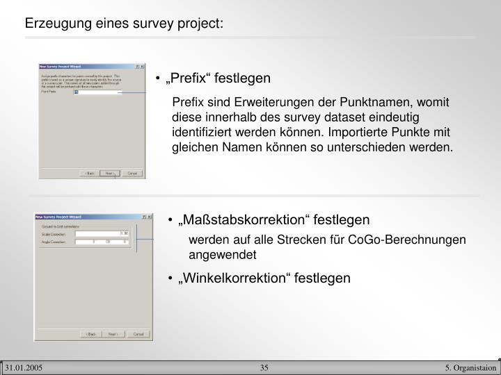 Erzeugung eines survey project: