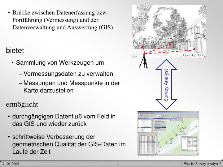 Brücke zwischen Datenerfassung bzw. Fortführung (Vermessung) und der Datenverwaltung und Auswertung (GIS)