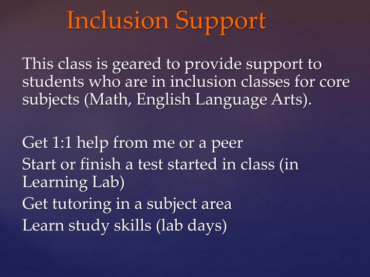 Inclusion support