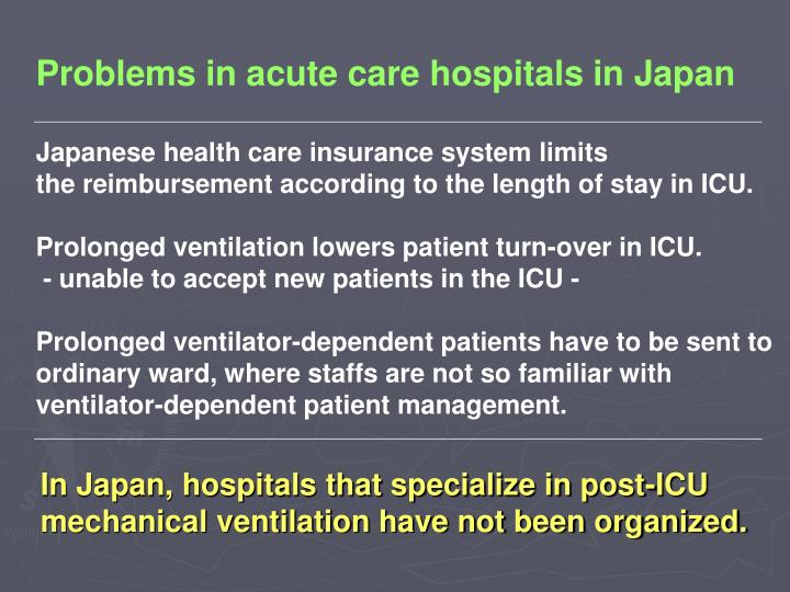 Problems in acute care hospitals in Japan