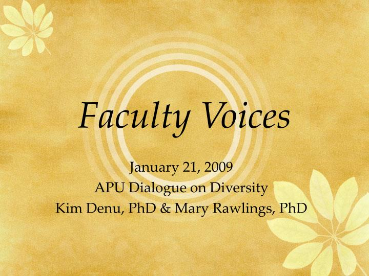 faculty voices