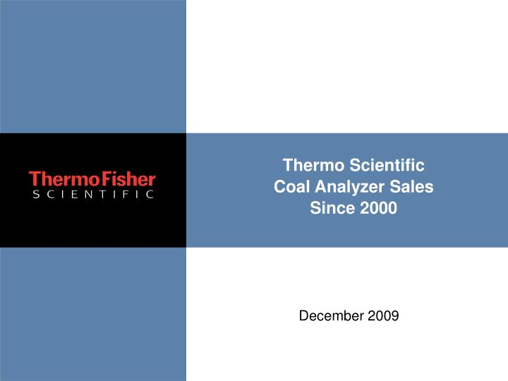 thermo scientific coal analyzer sales since 2000 n.