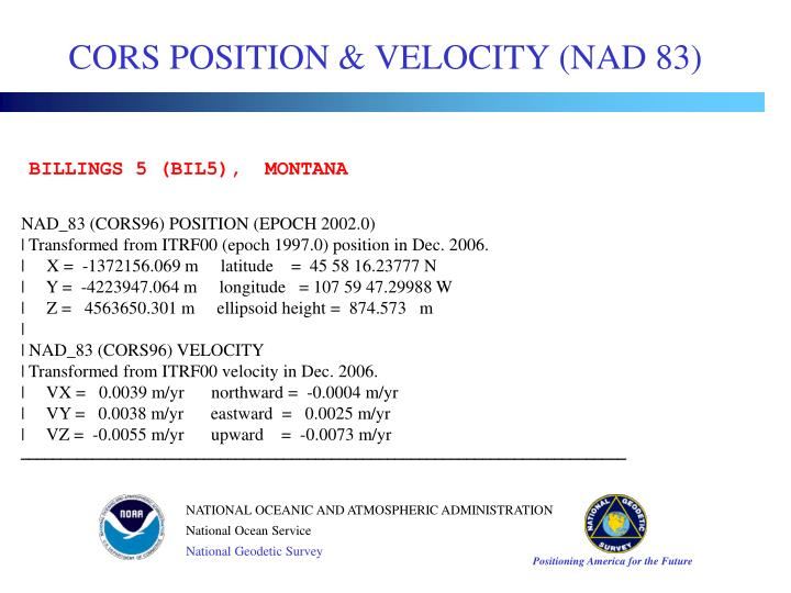 CORS POSITION & VELOCITY (NAD 83)