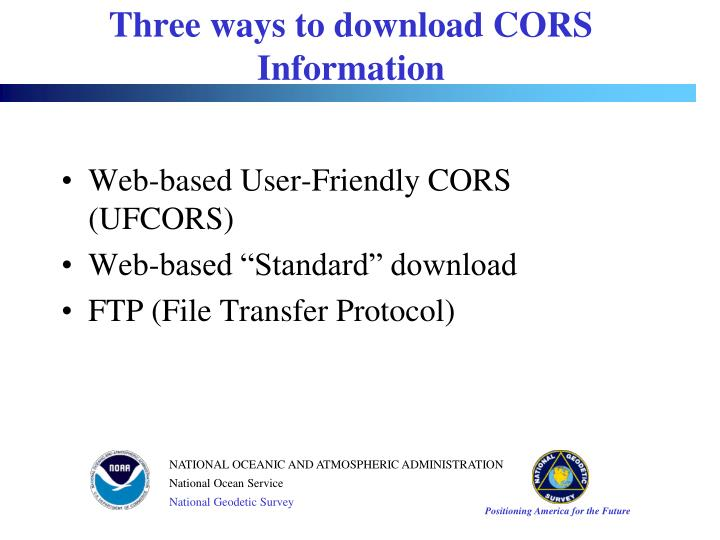 Web-based User-Friendly CORS (UFCORS)
