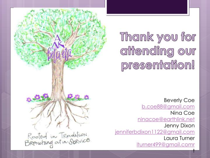 Thank you for attending our presentation!
