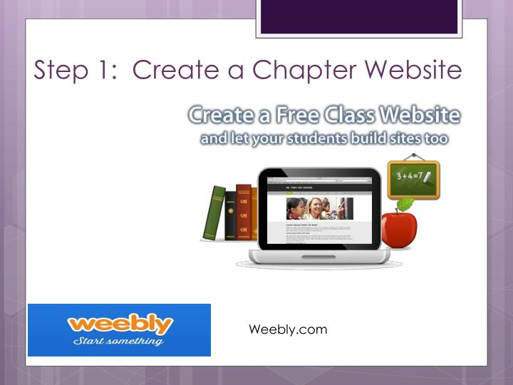 Step 1:  Create a Chapter Website