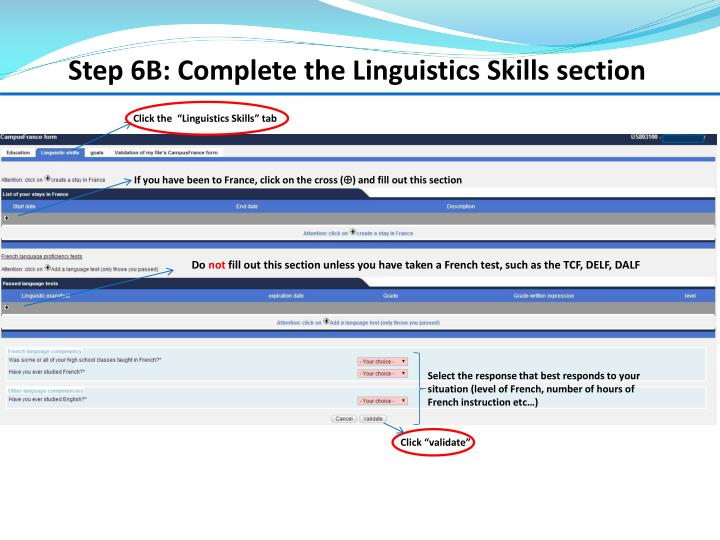 Step 6B: Complete the Linguistics Skills section