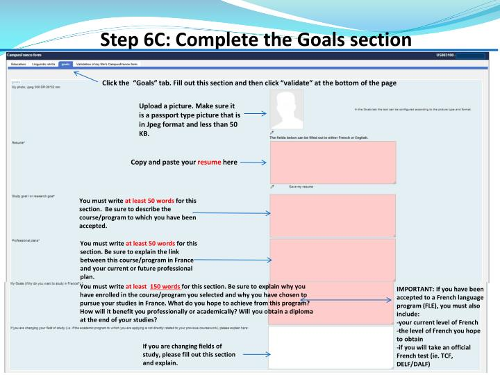 Step 6C: Complete the Goals section