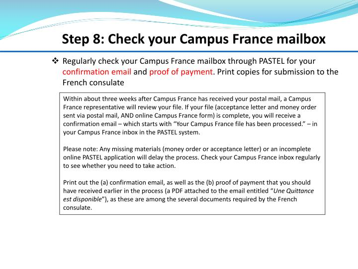 Step 8: Check your Campus France mailbox