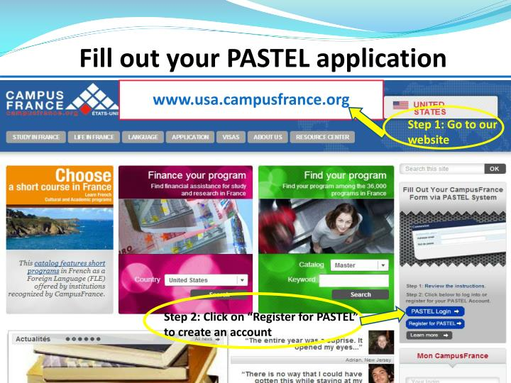 Fill out your PASTEL application