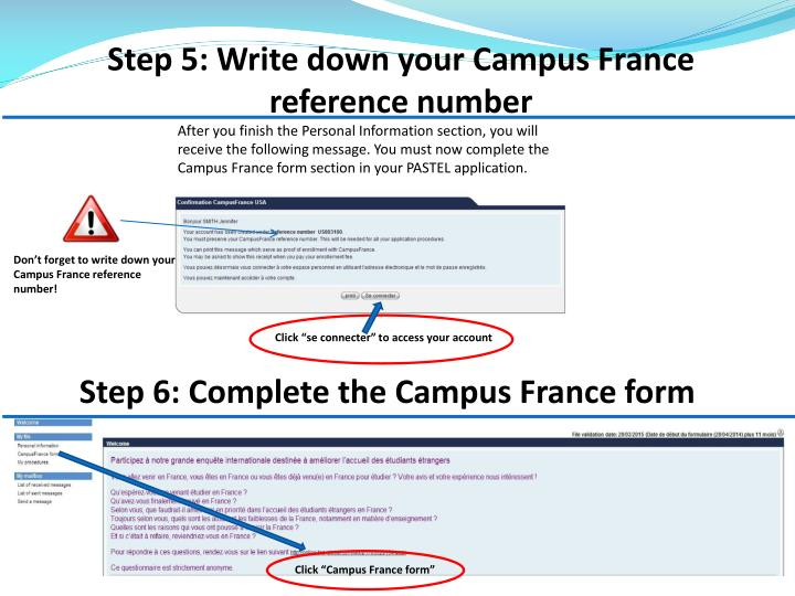 Step 5: Write down your Campus France reference number