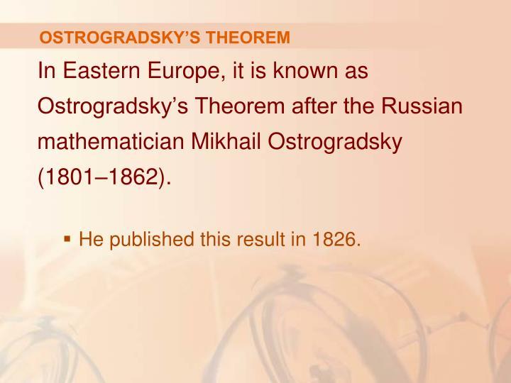 OSTROGRADSKY'S THEOREM
