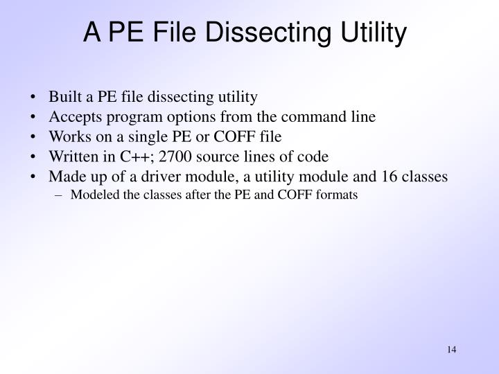 A PE File Dissecting Utility