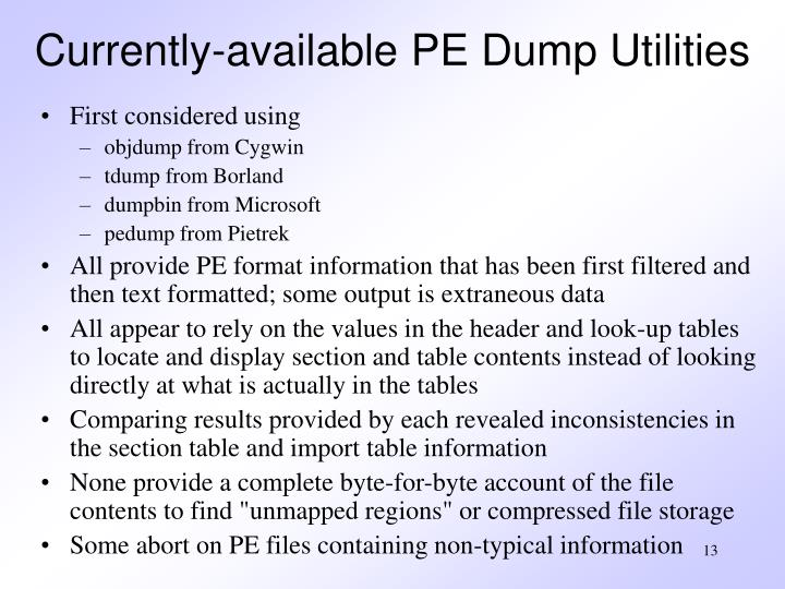 Currently-available PE Dump Utilities