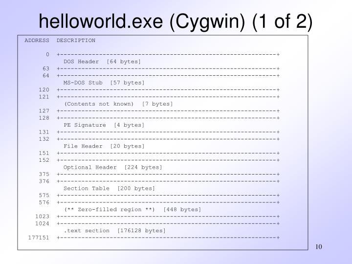 helloworld.exe (Cygwin) (1 of 2)