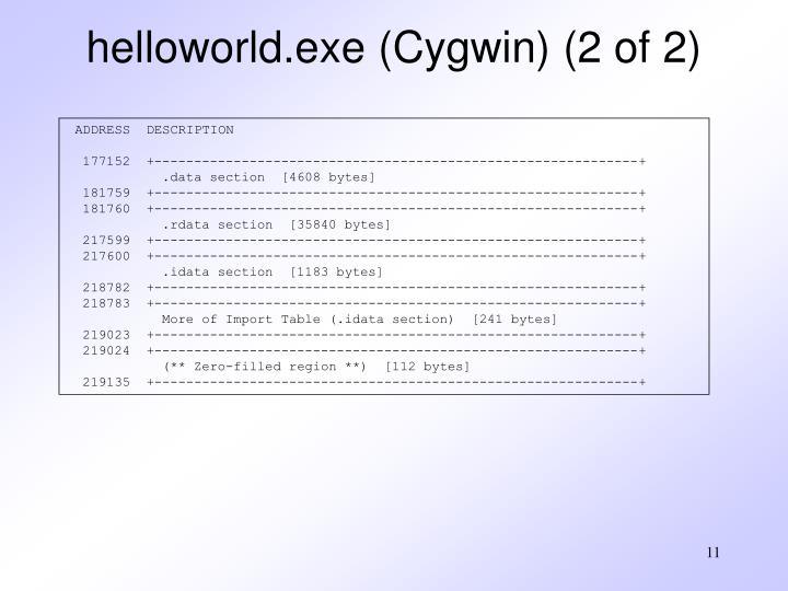 helloworld.exe (Cygwin) (2 of 2)