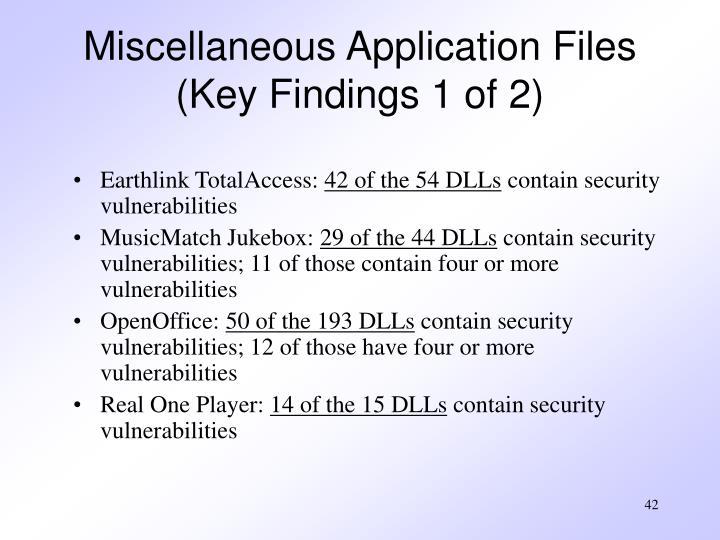 Miscellaneous Application Files
