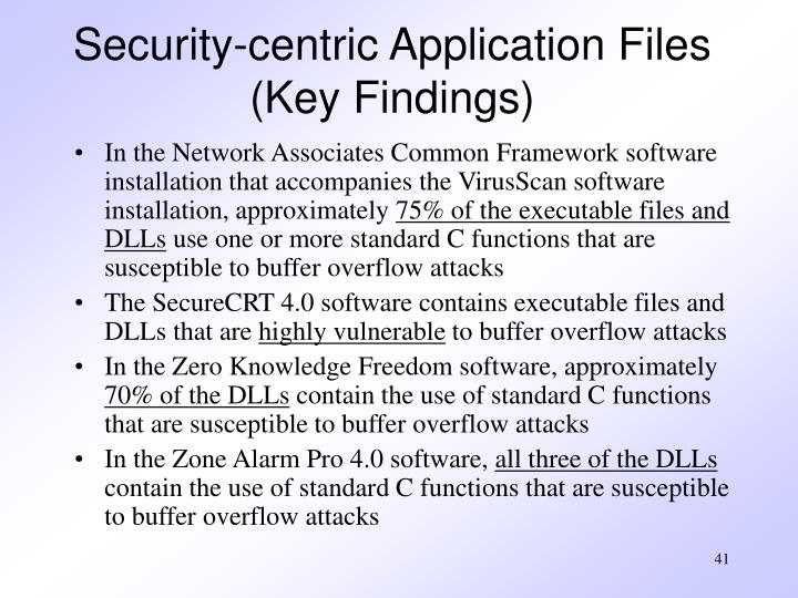 Security-centric Application Files (Key Findings)