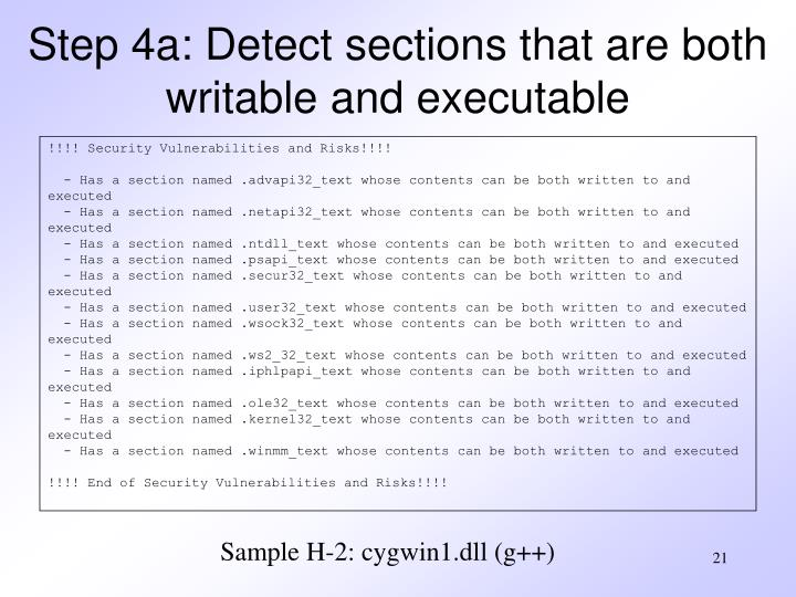 Step 4a: Detect sections that are both writable and executable