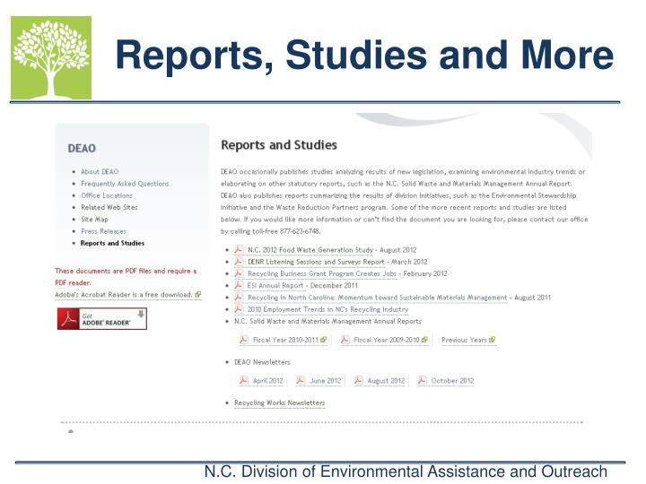 Reports, Studies and More