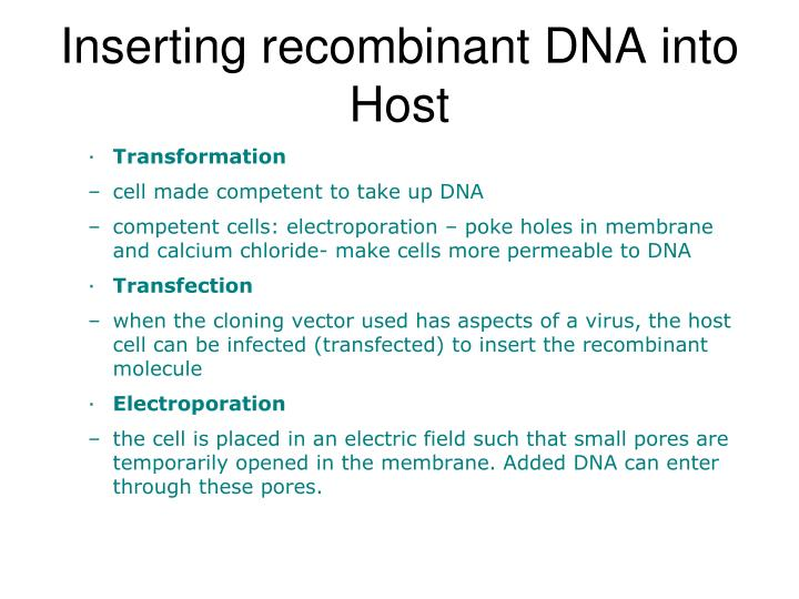 Inserting recombinant DNA into Host