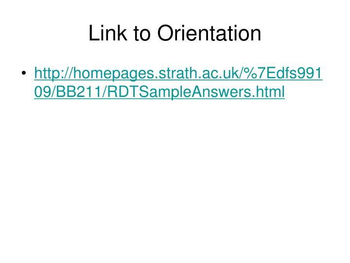 Link to Orientation