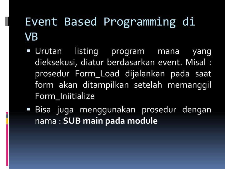 Event Based Programming di VB