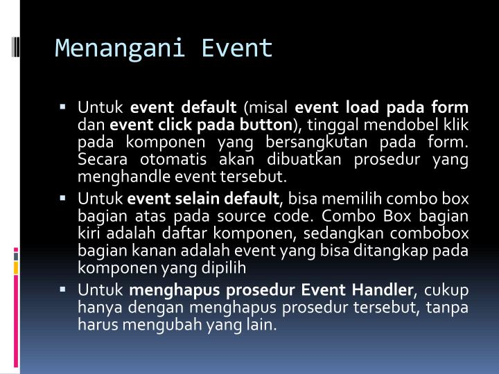 Menangani Event