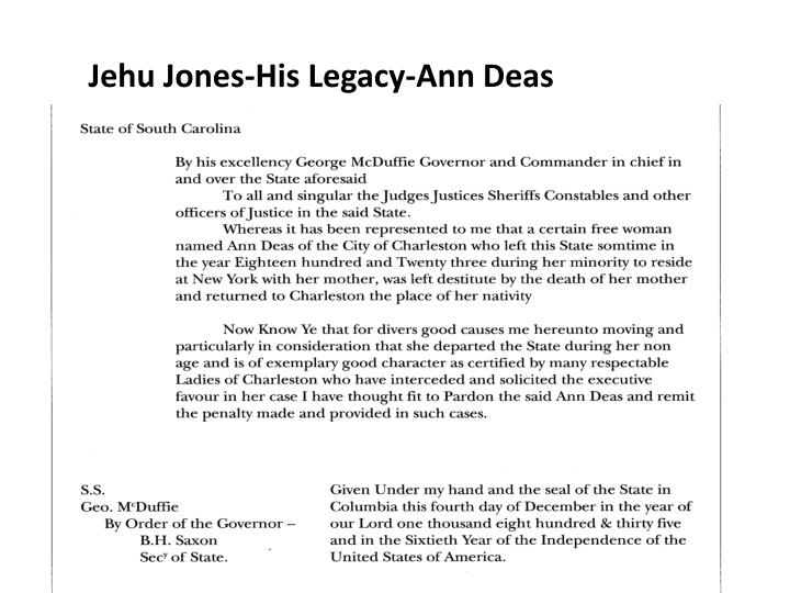 Jehu Jones-His Legacy-Ann Deas