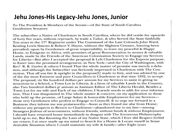 Jehu Jones-His Legacy-Jehu Jones, Junior