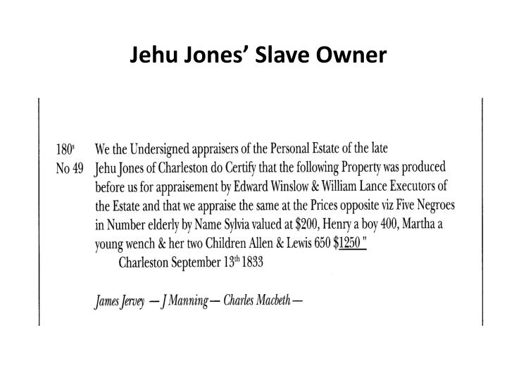 Jehu Jones' Slave Owner