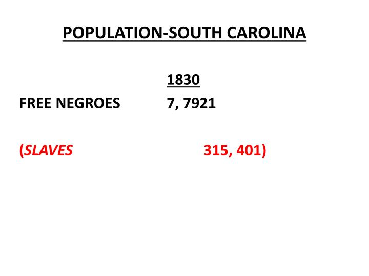 POPULATION-SOUTH CAROLINA