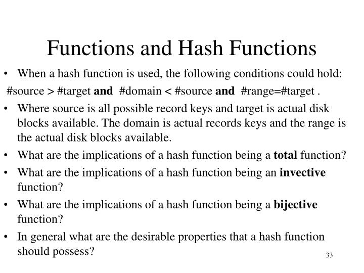 Functions and Hash Functions