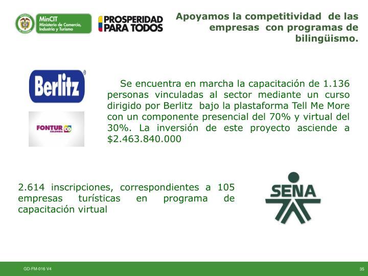 Apoyamos la competitividad  de las empresas  con programas de