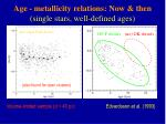 age metallicity relations now then single stars well defined ages