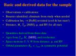 basic and derived data for the sample