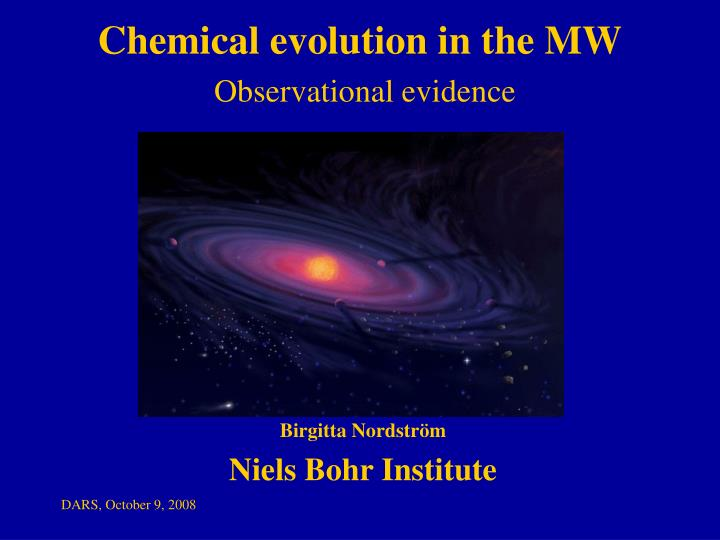 chemical evolution in the mw observational evidence n.