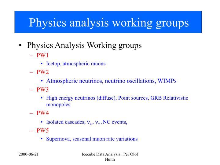 Physics analysis working groups
