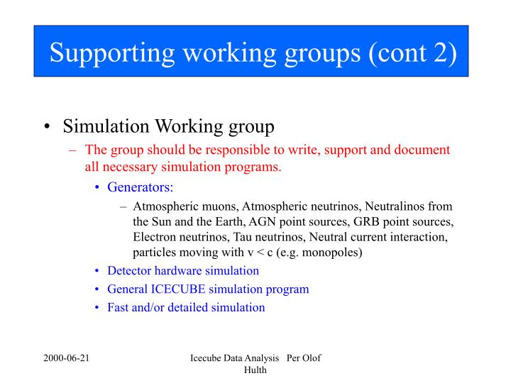 Supporting working groups (cont 2)