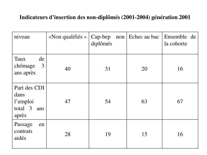 Indicateurs d'insertion des non-diplômés (2001-2004) génération 2001